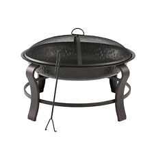 Round Wood Burning Fire Pit Owen Park 28 inch with Mesh Spark Guard, Cover
