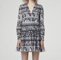 Thakoon Addition Women's Size 4 Black Paisley Floral Silk Blend Tunic Dress