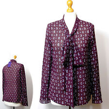 New TWIGGY for M&S Silky TIE NECK BLOUSE ~ Size 6 ~ BURGUNDY Print