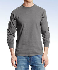 MJ SOFFE Men's Long-Sleeve Midweight Cotton T-Shirt M375 - Charcoal Heather -