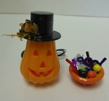 Dollhouse Miniature Halloween Electric Jack-o-Lantern, bowl trick or treat candy