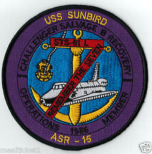 RARE -USS SUNBIRD - CHALLENGER STS-51 L  SALVAGE B RECOVERY OPERATIONS - PATCH
