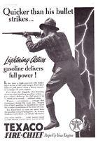 1937 Hunter with Rifle photo Texaco Fire-Chief Gasoline promo print ad