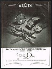 1940's Vintage 1947 Recta Watch Co. 50 Year Jubilee Models Photo Art Print AD
