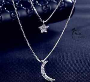 Two layer Star Moon Pendant 925 Sterling silver Necklace jewellery Women Gifts