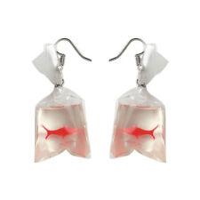 Women Funny Goldfish Water Bag Shape Dangle Hook Earrings Female Charm Jewelry