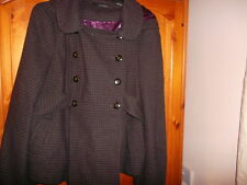 Cosy grey and purple check wool blend swing jacket with hood, TOPSHOP, size 16