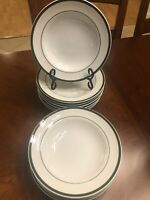 """4 Williams Sonoma BRASSERIE GREEN Pattern 9"""" LARGE RIMMED SOUP BOWLS"""