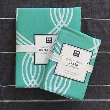 New  Pottery barn Teen Infinity stripe Queen duvet cover pillowcases pool 3pc