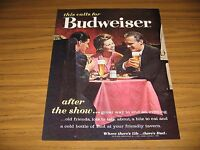 1962 Print Ad Budweiser Beer Couples Drink Bud at Dinner