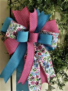 DK. PINK  BOW FUNKY WIRED BOW / DOOR WREATH MAILBOX SWAG FENCE # 184 rb