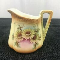 Czech Pottery Creamer Handpainted Floral Vintage Made in Czechoslovakia