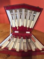 Vintage EPNS Silver Plate 6 Fish Knives & 6 Forks Faux Bone Handles Boxed