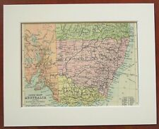 Australia, New South Wales, Victoria - Antique c.1900 Mounted Colour Map