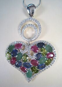 Heart Necklace EMERALD, RUBY, SAPPHIRE, PERIDOT 13.31 CTW  White Gold/925 Silver
