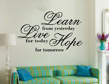 Livingroom Wall Art Vinyl Sticker Decal DIY Quote  LEARN, LIVE, HOPE Large