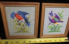 2 Vintage Needle Point Cross Stitch FRAMED BIRD Wall Plaques Figures mid century