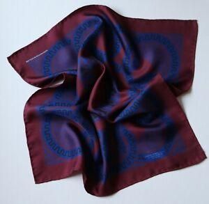 Silk pocket square. Mark Marengo, burgundy & navy. Hand rolled