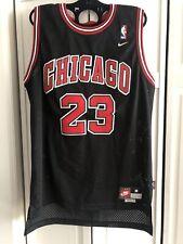 MICHAEL JORDAN 23 Embroidered Nike NBA Black Chicago Bulls Jersey Size Medium
