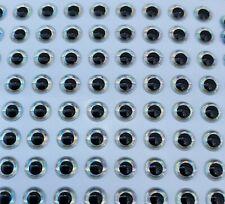 3D Lure Eye Self Stick Silver/Black 3mm - 10mm