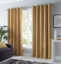 Fusion Sorbonne Plain Ochre Mustard Yellow 100% Cotton Eyelet Lined Curtains