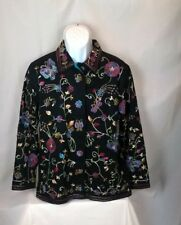 The Quacker Factory Embroidered Beads Multicolor Jean Jacket Women's S