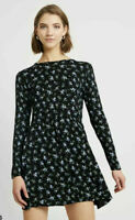 Wednesday's Girl Smock Dress Size 8 & 10 Black Long Sleeve Floral Print NEW GT70
