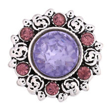 Fashion 3D Rhinestone 18mm Ginger Snaps Chunk Charm Button Fit Noosa Jewellery