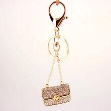Sparkling Crystal Diamante Handbag Shaped Bag Charm Pendant Keyring Key Chain