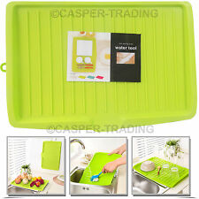 Plastic Dish Drainer Green Drip Tray Plate Cutlery Rack Kitchen Sink Rack Holder