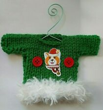 Green and White Dog Themed Mini Ugly Christmas Sweater   Ornament