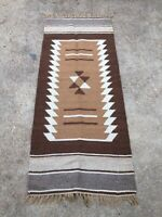 "SOUTHWEST RUG - Vtg Heavyweight Wool Geometric Design Brown Runner, 79.5"" x 32"""