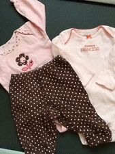 Lot Of 3, Carter's 6 Months Long Sleeve bodysuit And Pant PINK /BROWN