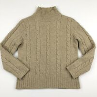 J. Crew Women's 100% Lambswool Cable Knit Crew Neck Sweater Beige Size S