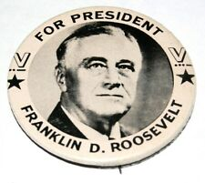 """Rare 2.5"""" V VICTORY FDR Franklin D. Roosevelt campaign pin pinback button WW II"""