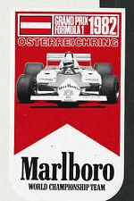Original marlboro team mclaren F1 austrian gp 1982 période de course autocollant aufkleber