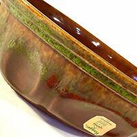 HAEGER POTTERY GARDENHOUSE PLANTER BROWN DRIP GLAZE GREEN SWIRL 10 1/2 INCH