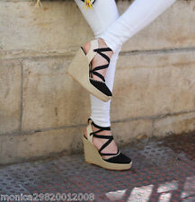 ZARA *Black Bow Detail Leather Wedges* SIZE_UK3_4_5_6_7_8 2016 NEW REF 1485 101