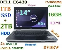 "# 3D-Desige DELL E6430 i7-Quad (1TB SSD + 2TB DVDRW) 16GB 14"" NVIDIA Backlit"