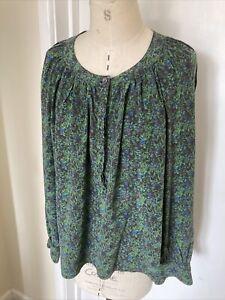 BRORA silk shirt/top green pattern 12-14 very pretty, fab!