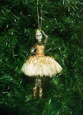 BALLERINA GOLD DANCER CHRISTMAS ORNAMENT w/ TUTU & TIARA