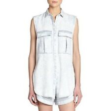 Helmut Lang Sleeveless Denim Shirt Acid Wash Chambray Button Down Top Petite P