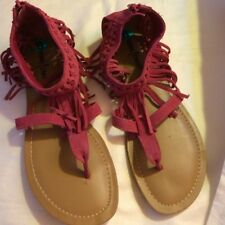 Minnetonka Fuchsia Abbey Fringed Tribal Sandal Sz 8 zipback Suede leather new
