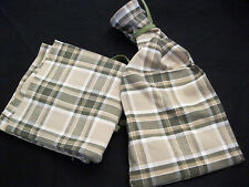 Fabric Gift Bags Reusable Green Woven Plaid Primitive Country Set/2 Eco Friendly