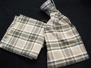 Fabric Gift Bags Reusable Green Woven Plaid Wine Bottle Set/2 Eco Friendly