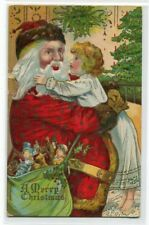Santa Hugs Child Christmas Greetings 1910c postcard