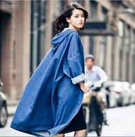 Womens spring Denim Long Coat Hooded Outwear Jean long Jacket Oversized parkas