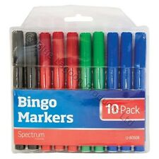10 x Bingo Markers Dabbers Pens Coloured Set Black Green Felt Red Blue Tickets