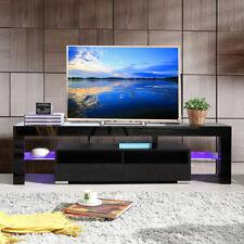 63'' TV Stand Entertainment Center LED Console Wood Modern Shelf Cabinet Black