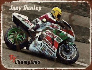 "JOEY DUNLOP TT CHAMP #0902 SIGN GARAGE ALUMINIUM METAL MOTORBIKE 10 X 7.7"""